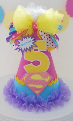 Lil' Super Hero Girl Birthday Party Hat - Pink, Yellow, Aqua, Purple - Personalized from Sandy's Specialty Shop Diy Party Hats, Birthday Party Hats, Superhero Birthday Party, Birthday Diy, Birthday Party Decorations, Girl Birthday, Batman Party, Cumpleaños Diy, Crown For Kids