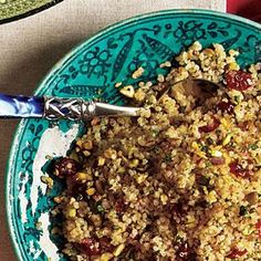 Quinoa With Dried Cherries & Pistachios -  You can serve this herby, fruity side at room temperature or chilled.