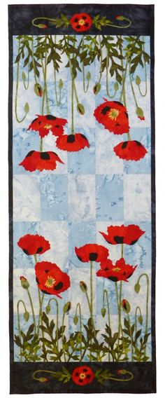 Poppies table runner pattern by Dana Verrengia at Wildfire Designs Alaska