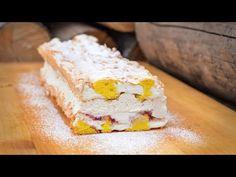 Výborné kardinálské řezy s kávovou šlehačkou Marie Kosové - YouTube Dessert Recipes, Desserts, Cornbread, Feta, Cereal, Cheesecake, Food And Drink, Treats, Baking