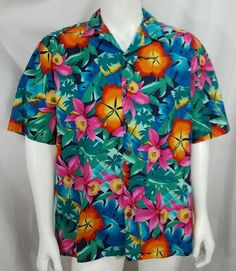 53fac7fd Hilo Hattie bright orchid hibiscus Hawaiian floral aloha button up shirt  mens XL #HiloHattie #