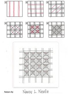 Online instructions for drawing Nancy Newlin's Zentangle® pattern: Panthe. Tangle Doodle, Tangle Art, Zen Doodle, Doodle Art, Zentangle Drawings, Doodles Zentangles, Doodle Drawings, Doodle Patterns, Zentangle Patterns