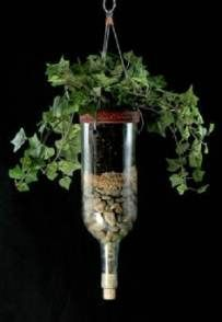 bottle hanging Planters, use coffee filter between layers so earth doesn't seep down and keeps a clean look.Wine bottle hanging Planters, use coffee filter between layers so earth doesn't seep down and keeps a clean look. Wine Bottle Planter, Recycled Wine Bottles, Wine Bottle Corks, Glass Bottle Crafts, Wine Bottle Garden, Bottle Terrarium, Recycled Glass, Bottles And Jars, Glass Bottles