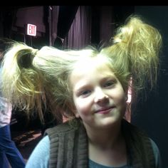 Sour kangaroo from Seussical -- Put a bottle in the hair and tie below cap to make hair stand