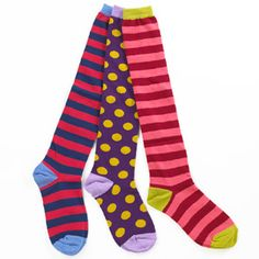"""little miss matched socks; come in """"pairs"""" of  three unmatched socks since your dryer is most likely going to lose one anyway.  so cute."""