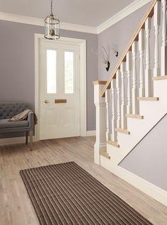 Pinglen on home ideas hallway colours, hallway decorating, hall perta Hallway Colour Schemes, Hallway Colours, Dulux Paint Colours Hallways, Grey Paint Colours, Dulux Grey Paint, Crown Paint Colours, Bedroom Colour Schemes Warm, Color Schemes, Flur Design