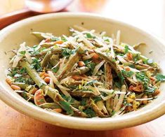 Roasted Green Beans with Lemon, Pine Nuts & Parmigiano Recipe
