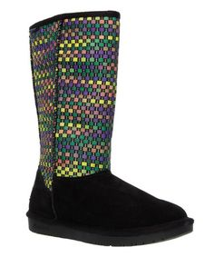 Loving this Purple & Yellow Woven Suede Boot on #zulily! #zulilyfinds