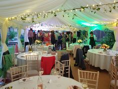 Leaves wound around fairy lights, open sides. Marquee Wedding, Tent Wedding, London Garden, Fairy Lights, Lighting Ideas, Light Up, Leaves, Wedding Ideas, Table Decorations