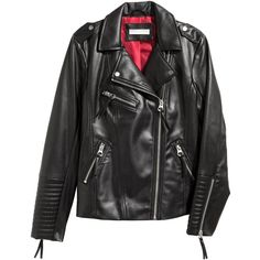 H&M Biker Jacket $39.99 (2.325 RUB) ❤ liked on Polyvore featuring outerwear, jackets, h&m, tops, faux leather motorcycle jacket, rider jacket, vegan leather moto jacket, vegan leather motorcycle jacket and faux-leather moto jackets