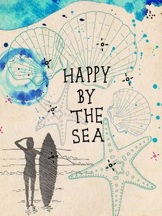 Fun poster for Surfers and beach lovers >> Happy by the Sea ink watercolour & by IllustrationsbyEmily, £16.00