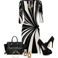 Blumarine Graphic Dress by arjanadesign on Polyvore featuring Blumarine, Zara, ASOS, Blu Bijoux, Julie Vos and WorkWear