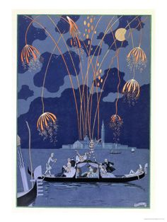 "Fireworks in Venice, Illustration for ""Fetes Galantes"" by Paul Verlaine 1924 Giclee Print at AllPosters.com"