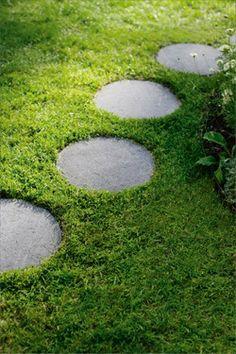 round pavers set into ground cover Garden Stepping Stones, Round Pavers, Garden, Landscape Design, Garden Studio, Garden Walkway, Outdoor Gardens, Family Garden, Outdoor Inspirations