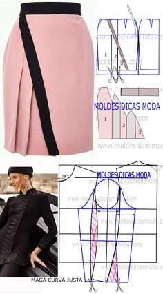 MOLDE VESTIDO Sewing Tutorials, Sewing Projects, Pattern Draping, Skirt Patterns Sewing, Fashion Sewing, Western Wear, Refashion, Dressmaking, Study