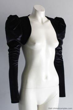 Velvet Bolero Jacket Puff Sleeve Gothic Goth Cosplay Steampunk Black Cropped. Sexy, Edgy and Extremely Chrisst. Special Online Price.. $129.00, via Etsy.