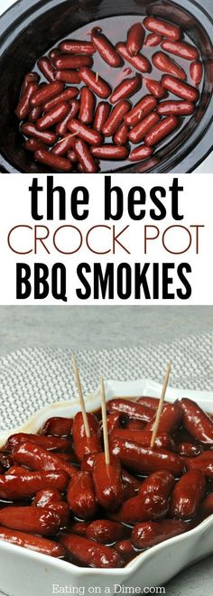 Try this easy BBQ Little Smokies Crock Pot Recipe with the best little smokies sauce! This is the best of lil smokies recipes. Try this easy BBQ Little Smokies Crock Pot Recipe with the best little smokies sauce! This is the best of lil smokies recipes. Little Smokies Sauce, Little Smokies Recipes, Little Weenies Recipe, Best Lil Smokies Recipe, Bbq Weenies Recipe, Lil Smokies Recipe With Grape Jelly, Appetizers For Party, Appetizer Recipes, Snack Recipes