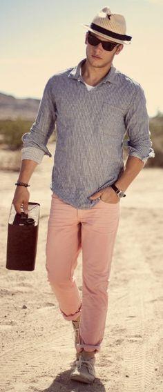 Rivier Club - Panama fedora, pullover shirt, rolled copper club pant, chukkas,