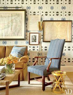 garys office is clad in an eskayel wallpaper the brass floor lamp is from neo