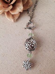 Mint Green Crystal & Filigree Snowflake Beaded Pendant Necklace