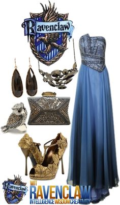 """Ravenclaw: Yule Ball"" by eclare887 on Polyvore / I'm going to wear this if Yule Ball is real!"
