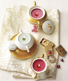 Tea cup and sugar bowl candles