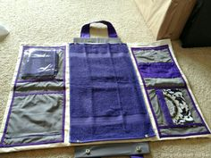 COOLEST EVER diaper bag changing station - it folds into a pretty purse thing. Not what I was looking for, but I will definitely have to make this sometime! :)