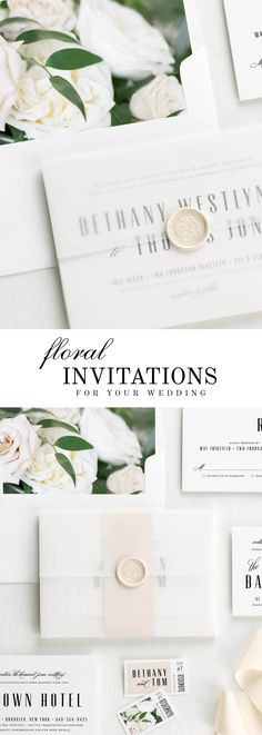 The Mid Century Romance wedding invitation suite is paired with Clara florals. Clara features sand dollar roses, white garden roses, and Italian ruscus.