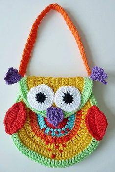 kız çocuklar için baykuş desenli örgü çanta modeli
