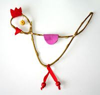 ~Leuke eenvoudige kip van gebogen tak~