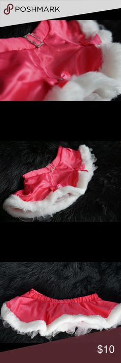 "💗Victoria's Secret PINK Sexy Santa Skirt 💖Victoria's Secret 💖Pink satin Santa skirt with white faux fur trim and back elastic waist. Built-in crinoline underskirt for fullness. No tags inside but it's one size and runs small (waist measures approx 14"" across laid flat & unstretched). Victoria's Secret Skirts"