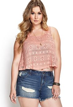 Linen-Blend Crochet Lace Tank | FOREVER21 #F21Plus Curvy Outfits, Plus Size Outfits, Casual Outfits, Fashion Outfits, Forever 21 T Shirts, Plus Size Summer Fashion, Plus Sise, Summer Outfits For Teens, Tumblr Outfits