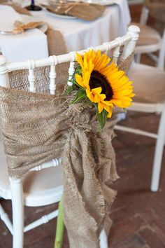 country rustic burlap and sunflower wedding chair decor ideas