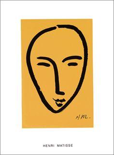 FACE ON YELLOW BACKGROUND, 1952 de Henri Matisse