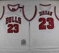 Mitchell and Ness Chicago Bulls #23 Michael Jordan Stitched White Throwback NBA Jersey