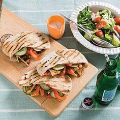 Turkey Pitas with Tahini-Yogurt Sauce | CookingLight.com