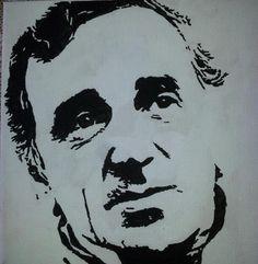 Charles Aznavour in zwart-wit op een doek van 20 X 20 cm.