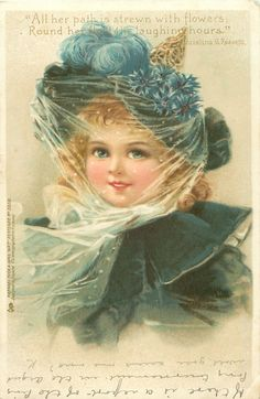 """Vintage card 1902 / """"girl in deep blue outfit, blue ostrich feather & cornflower trim to hat"""" / F. Brundage"""
