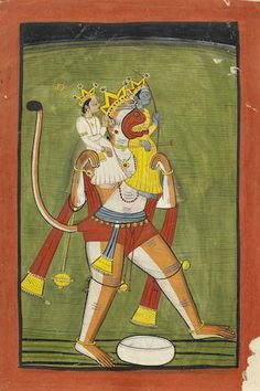 Hanuman carrying Rama and Lakshmana on his shoulders Mandi, late 18th Century Mughal Paintings, Indian Paintings, Miniature Paintings, Ashtanga Yoga, Hanuman, Hinduism, Indian Art, Sri Lanka, Demons