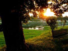 Sunset on the banks of the river Kupa in Sisak