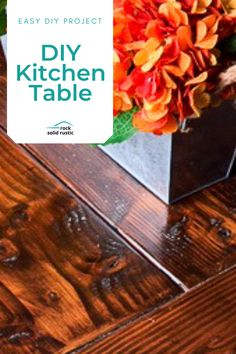 We are sharing our tips and tricks on how to make a DIY rustic wood kitchen table for beginners with very little woodworking experience. Easily make this wood kitchen table in a weekend! #howtomake #kitchentable #easydiy #woodtable