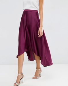ASOS | ASOS Midi Skirt in Satin with Splices at ASOS