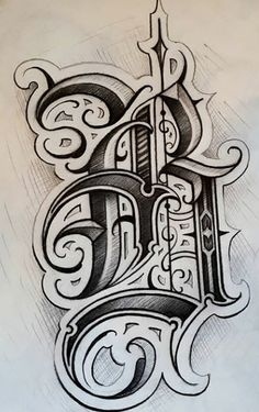 Tattoo Lettering Alphabet, Tattoo Lettering Styles, Chicano Lettering, Graffiti Lettering Fonts, Tattoo Lettering Fonts, Font Art, Tattoo Design Drawings, Graffiti Alphabet, Lettering Design