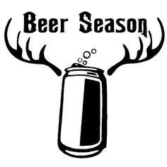15.2CM*14.1CM Beer Season Funny Vinyl Decals Hunting Drink Deer Hunter Car Stickers Car Styling Decoration Black Sliver