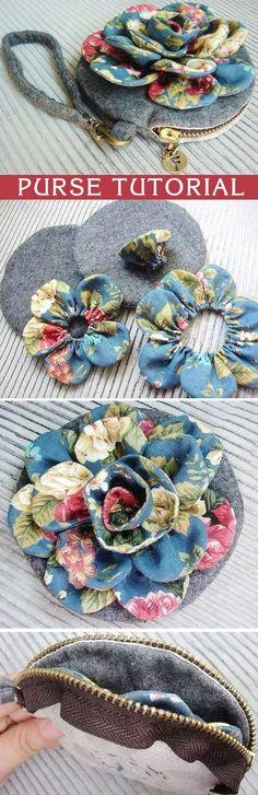 Simple Vintage Flower Cosmetic Bag Purse