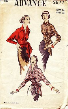Advance # 5677 dated Front wrap blouse features wing collar and large bow at hip. Long or three quarter sleeves with cuff. Vintage Dress Patterns, Blouse Vintage, Vintage Dresses, Vintage Outfits, Retro Fashion, Vintage Fashion, Evening Blouses, Wing Collar, B 13