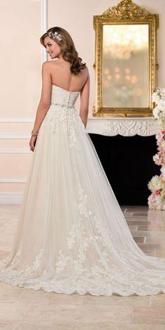 bc8f2f3f488ea A-Line Plus Size Wedding Dress with Princess Cut Neckline