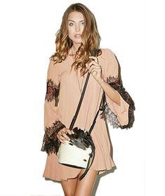 New Women's Fashion Long Sleeve O-Neck Sexy Loose Casual Lace Splicing Chiffon Dress