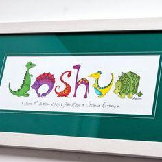 Personalised Dinosaur Name Frame | GettingPersonal.co.uk