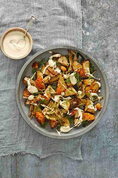 geroosterde knolselderij, venkel en clementine met amandelaioli Aioli, Paella, Veggies, Vegetarian, Dishes, Eat, Ethnic Recipes, Food, Drinks